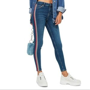 Topshop Jamie Moto Side Stripe Jeans Size 28